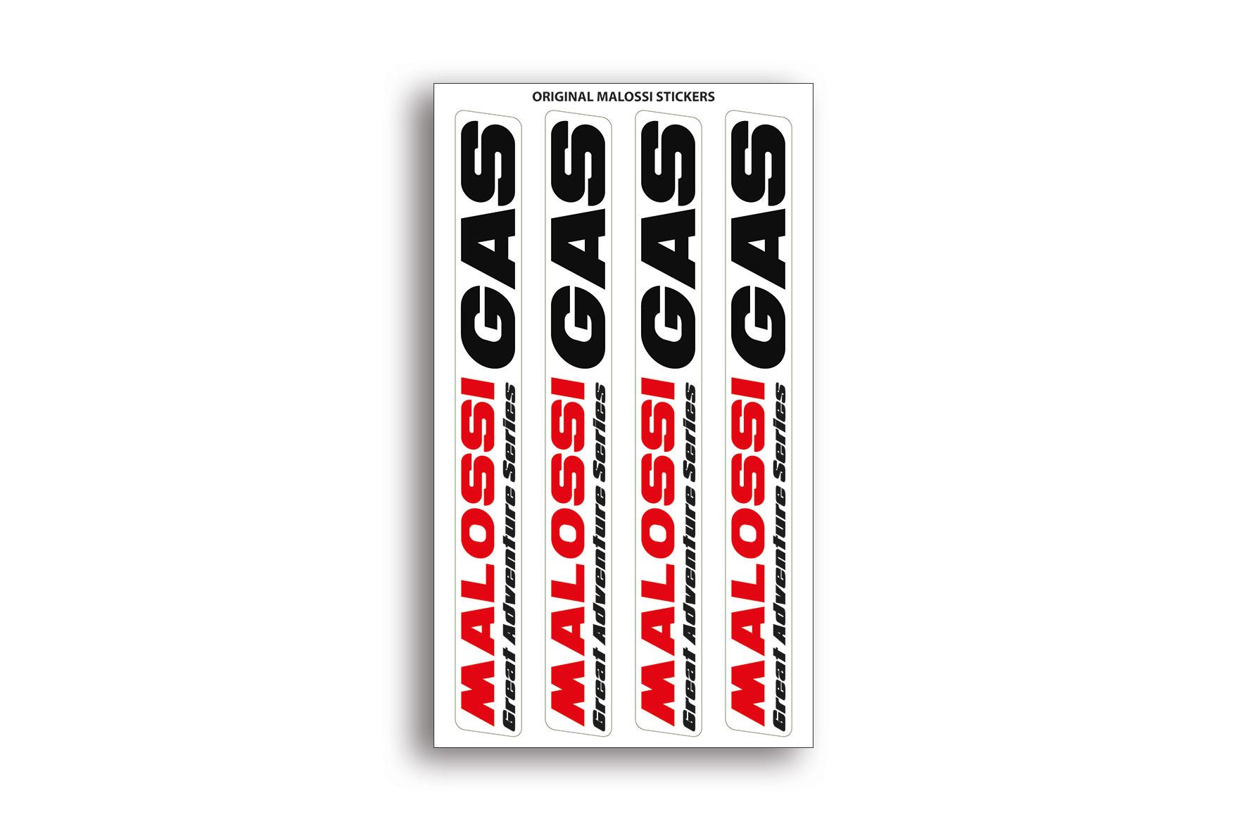 Hoja de mini adhesivos Malossi GAS - dimensiones 8x14 cm