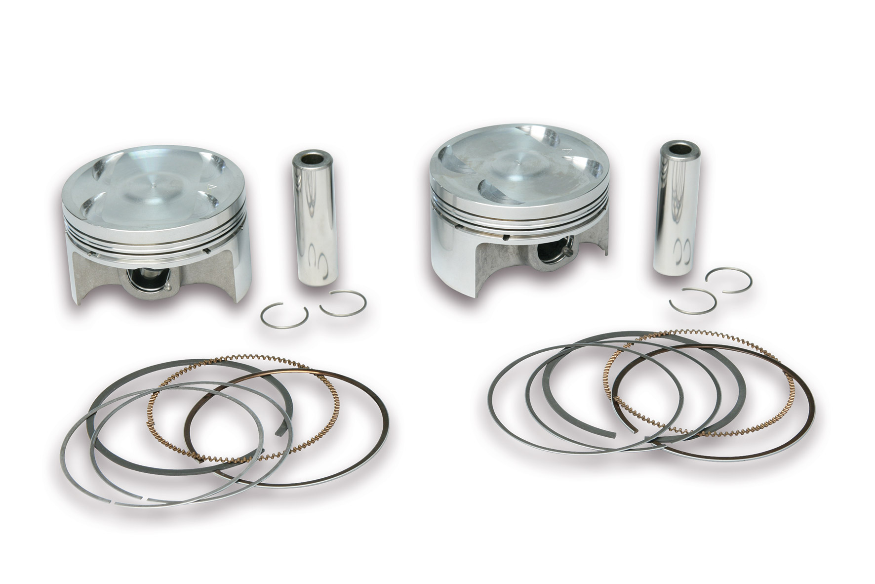 OVERS. forged PAIR of PISTONS Ø 66,2 pin Ø 15 rect./oil rings 3-for Original cylinder