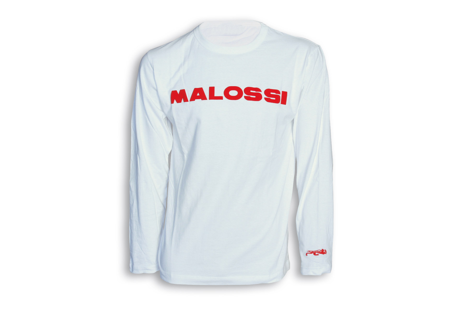 WHITE T-SHIRT MALOSSI -long SLEEVE/RED logo ( S )