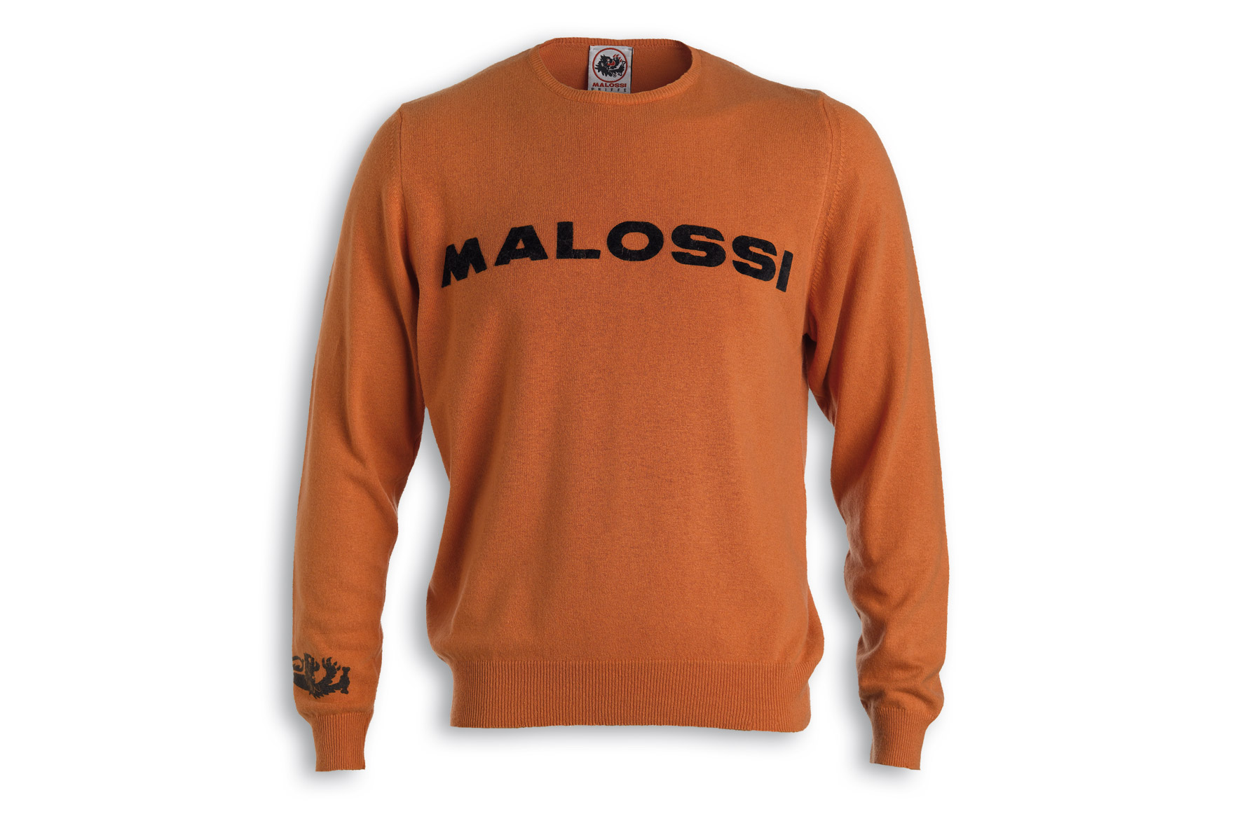ORANGE CASHMERE SWEATER MALOSSI griffe - LOGO ( S )