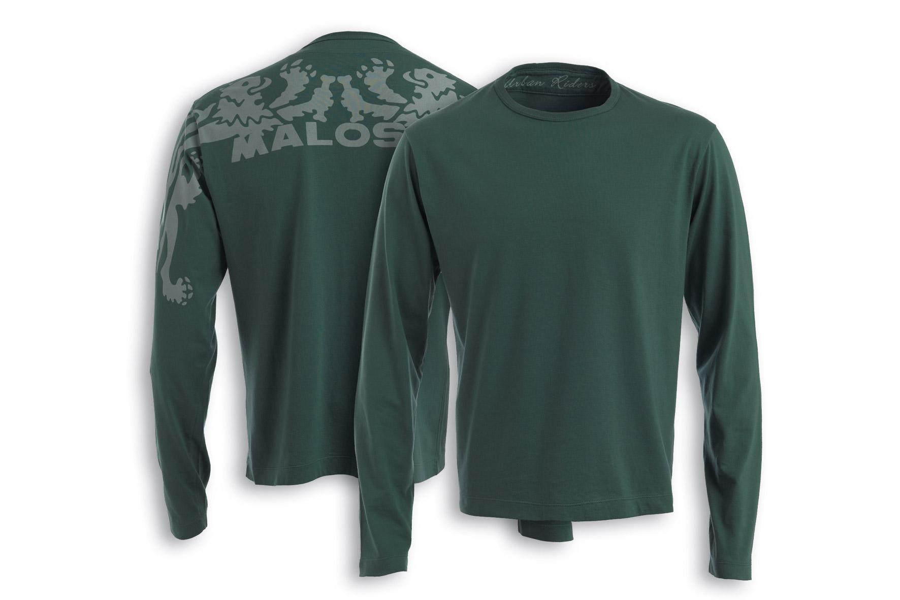 T - shirt Malossi Griffe START con manica lunga di colore verde militare - taglia S
