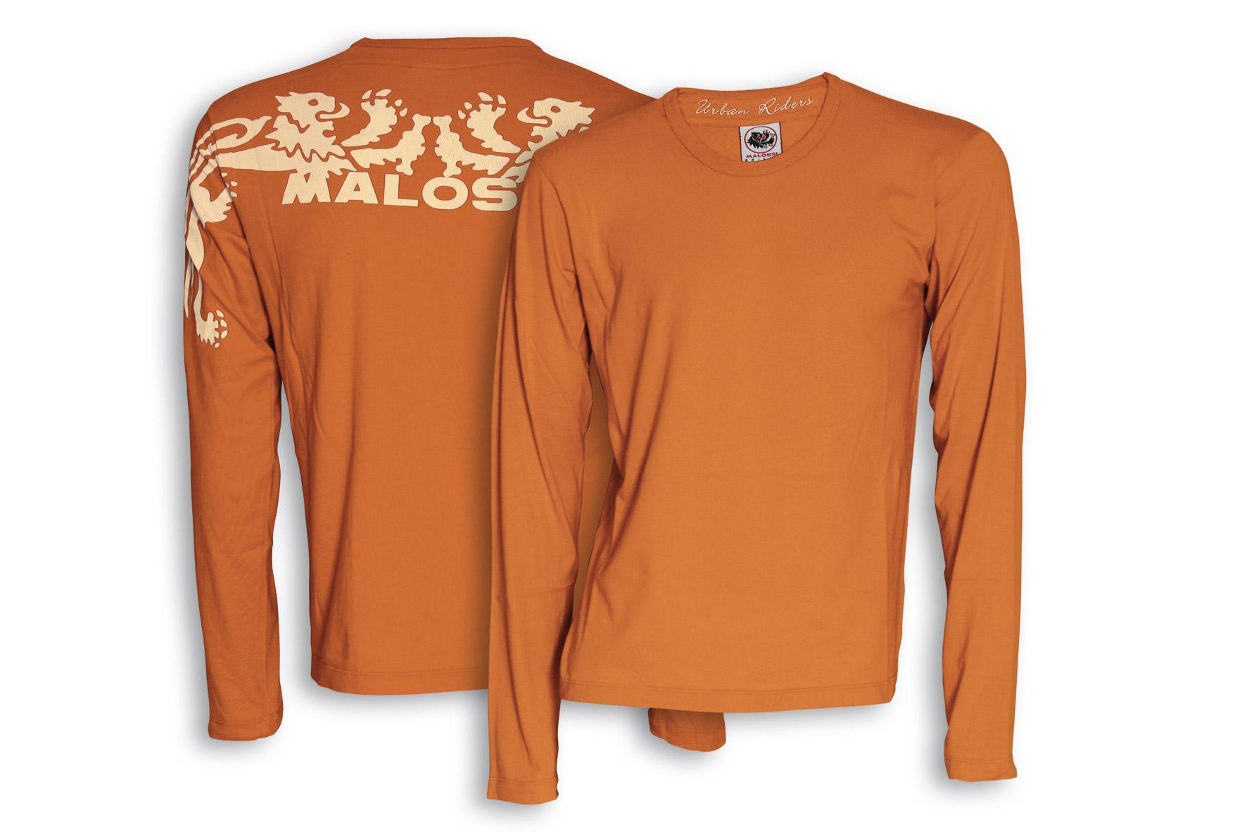 T - shirt Malossi Griffe START con manica lunga di colore arancio - taglia M
