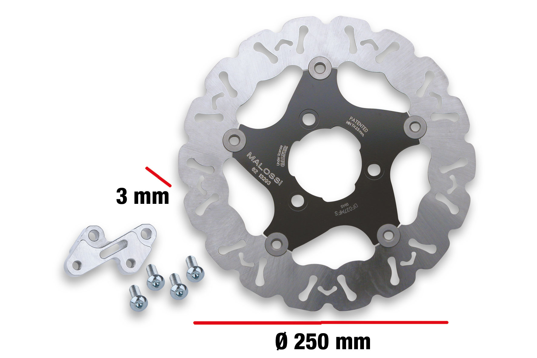 OVERSIZED WHOOP DISC KIT ext. Ø 250 - thickness 3 mm/ BRAKE CALIPER SUPP. CLAMP for ORIGINAL FORK