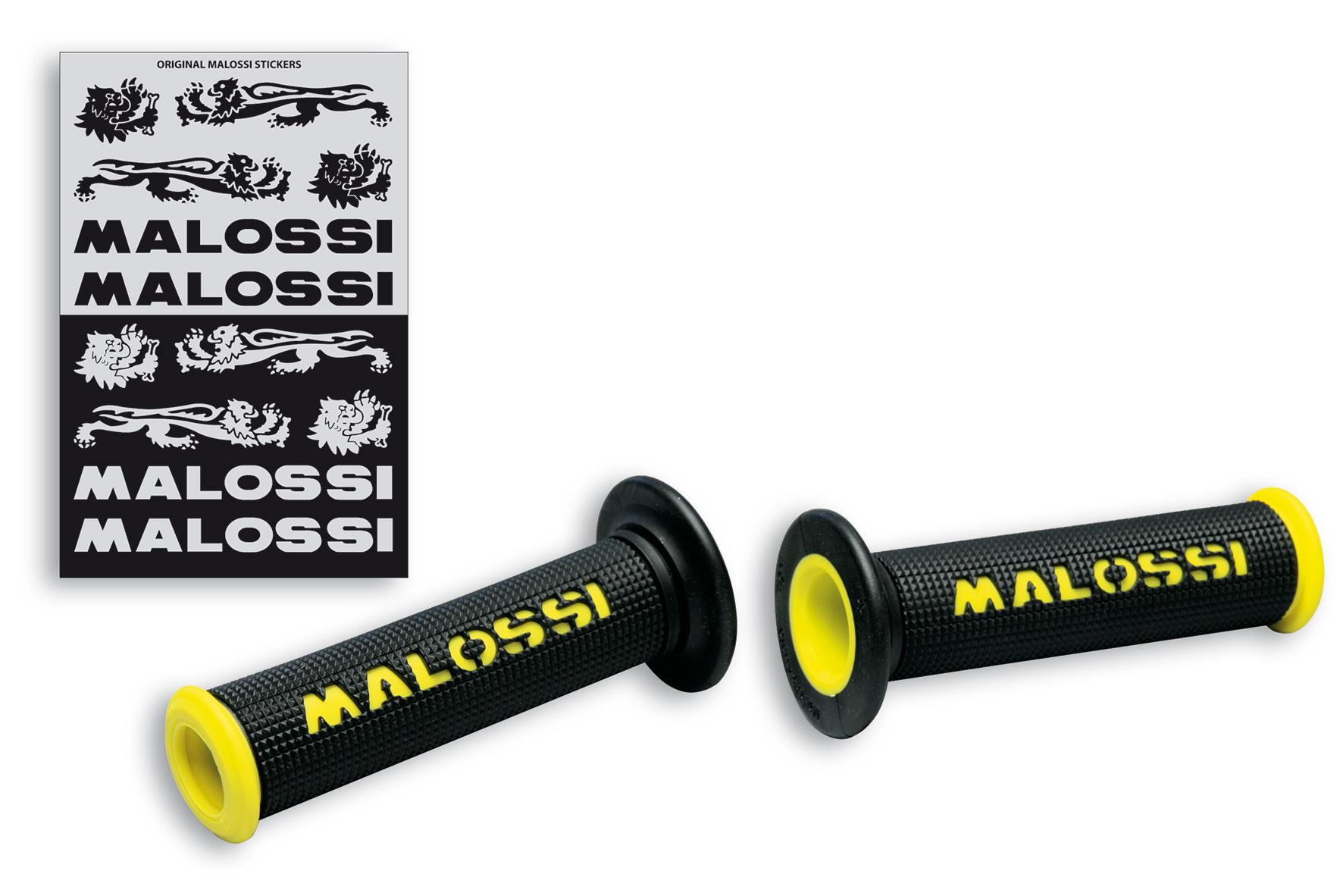 2 puños negros con logo Malossi amarillo - modelo sin cierre lateral